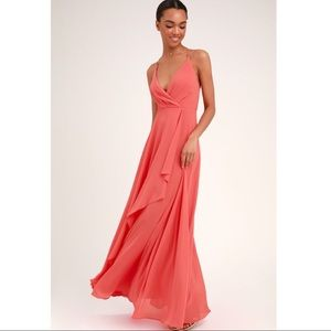 Lulu's Love Forever Coral Backless Maxi Dress NWT